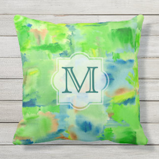 Monogram Spring Forest Abstract Watercolor Collage Outdoor Cushion