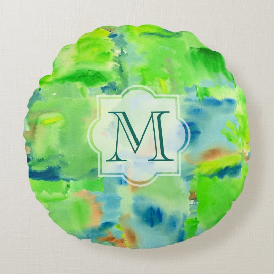 Monogram Spring Forest Abstract Watercolor Collage Round Cushion