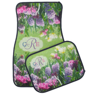 Monogram Spring Garden Beautiful Tulips Hyacinth Car Mat