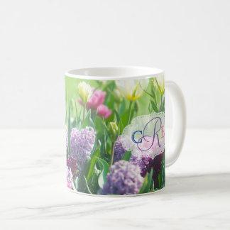 Monogram Spring Garden Beautiful Tulips Hyacinth Coffee Mug