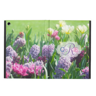 Monogram Spring Garden Beautiful Tulips Hyacinth Cover For iPad Air