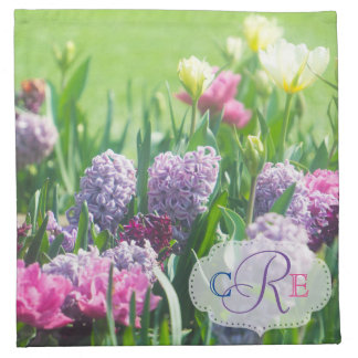 Monogram Spring Garden Beautiful Tulips Hyacinth Napkin