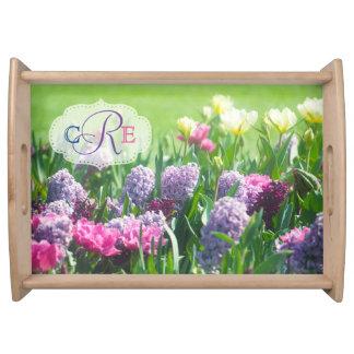 Monogram Spring Garden Beautiful Tulips Hyacinth Serving Tray