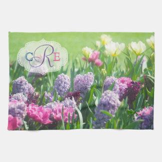Monogram Spring Garden Beautiful Tulips Hyacinth Tea Towel