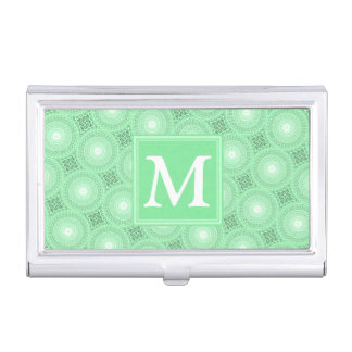 Monogram spring green circles pattern business card holder