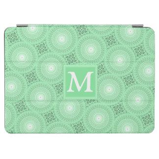 Monogram spring green circles pattern iPad air cover