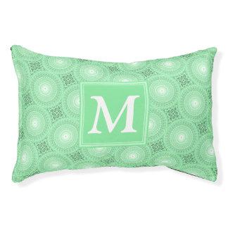 Monogram spring green circles pattern pet bed
