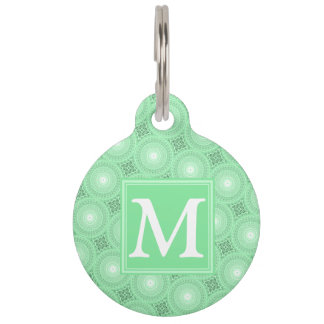 Monogram spring green circles pattern pet tag