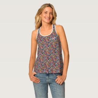 Monogram Sprinkles Colorful Print Pattern for Her Singlet