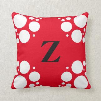 Monogram square pillow, polka dot black red throw cushion