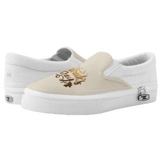 Monogram. St Patrick's Day. Lucky Clover. Shamrock Slip-On Shoes