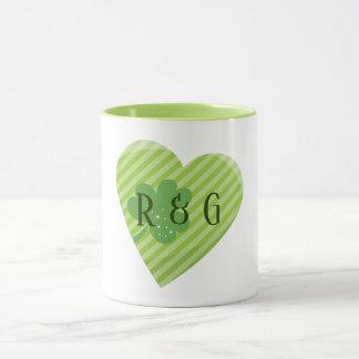 Monogram St Patricks Stripes heart Mug