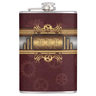 Monogram Steampunk Art Deco fusion, brass, maroon Hip Flask