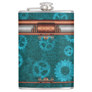 Monogram, Steampunk Deco fusion, copper and teal Hip Flask
