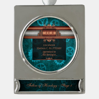 Monogram, Steampunk Deco fusion, copper and teal Silver Plated Banner Ornament