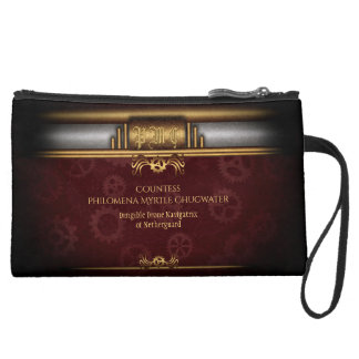 Monogram Steampunked Deco, brass and maroon Suede Wristlet