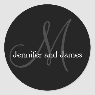 Monogram Stickers for Weddings Black