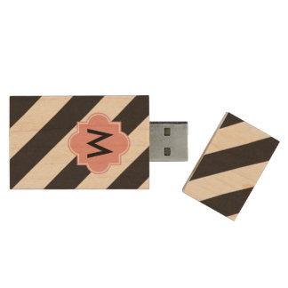 Monogram Stipes USB flash drive Wood USB 2.0 Flash Drive