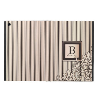 Monogram Stripes Damask Feminine Girly Monochrome Cover For iPad Air