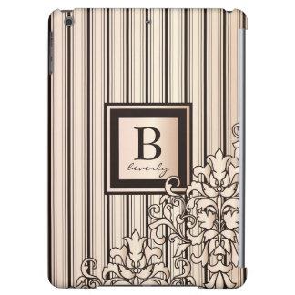Monogram Stripes Damask Feminine Girly Monochrome iPad Air Cover