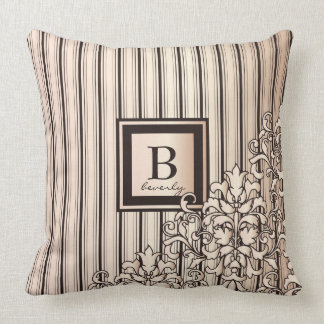 Monogram Stripes Damask Feminine Girly Pretty Cushion