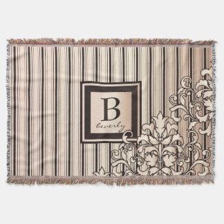 Monogram Stripes Damask Feminine Girly Pretty Throw Blanket
