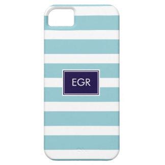 Monogram Stripes iPhone Cases (Aqua/Navy)