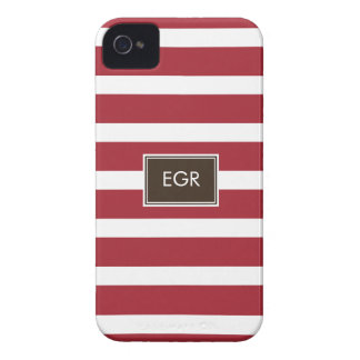 Monogram Stripes iPhone Cases (Red/Brown)