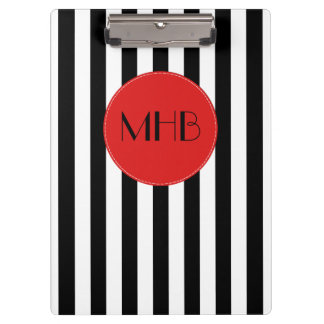 Monogram - Stripes, Parallel Lines - White Black Clipboards