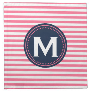 Monogram Stripes | Pink White Blue Color Palette Napkins