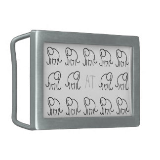 Monogram Stylised Elephant Pattern Black and White Rectangular Belt Buckle
