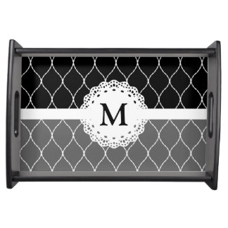 Monogram - Stylish Black White Lace Pattern Serving Tray