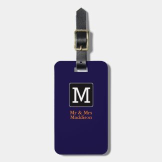 monogram / stylish Mr&Mrs airplane travel Luggage Tag
