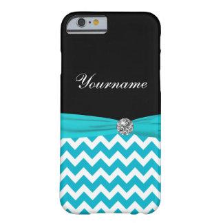 Monogram Stylish Turquoise Barely There iPhone 6 Case
