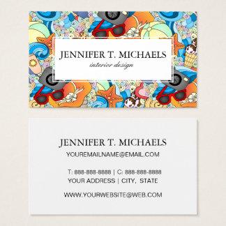 Monogram Summer Fun Pattern Business Card