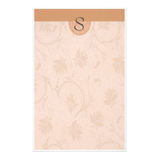 Monogram Summer Tan Floral Customized Stationery