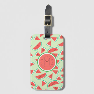 monogram summer watermelon slices pattern luggage tag