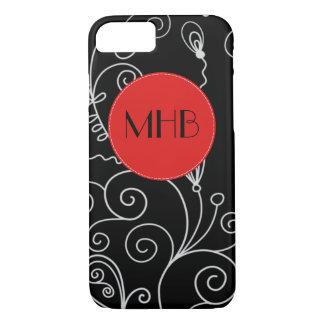 Monogram - Swirled Pattern, Swirly Style - Black iPhone 7 Case