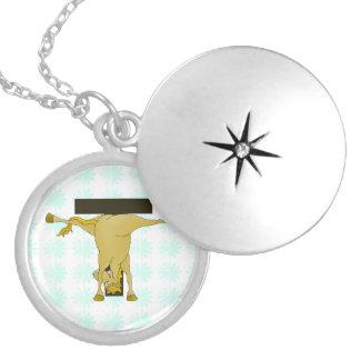 Monogram T Funny Pony Personalized Round Locket Necklace
