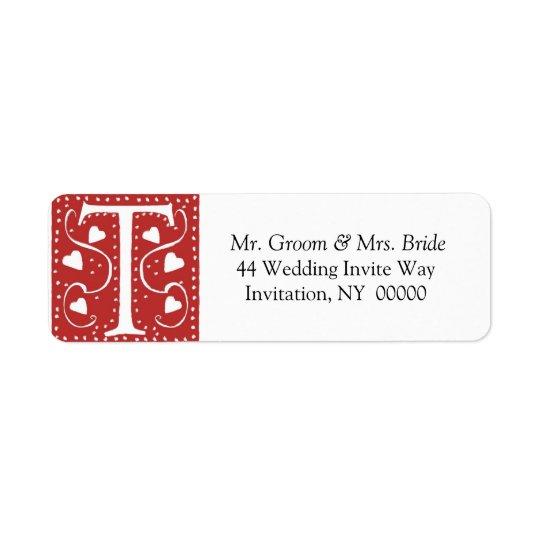 Monogram T Hearts Red White Wedding Colours Return Return Address Label