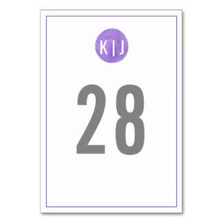Monogram Table Number   Purple Watercolor