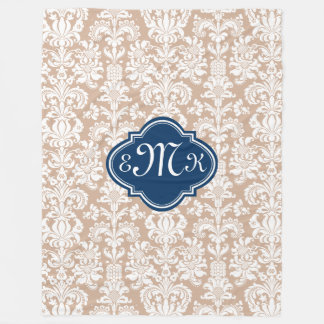 Monogram Tan And White Floral Damasks Fleece Blanket