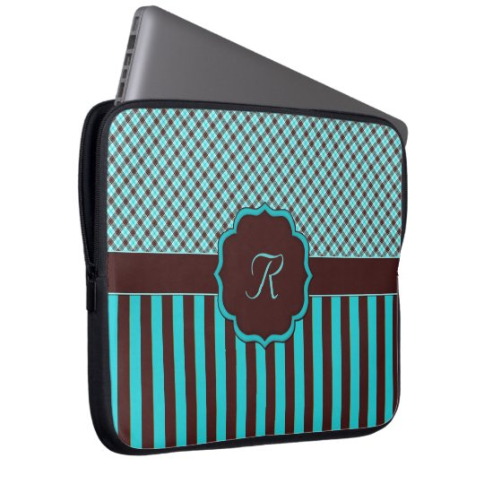 Monogram Tartan Lt Teal-Choc Laptop Sleeve 15""
