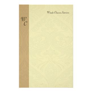 Monogram Taupe & Beige Pattern Letterhead Stationery Paper