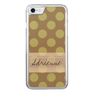 Monogram Taupe Olive Green Chic Polka Dot Pattern Carved iPhone 8/7 Case