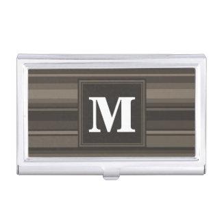 Monogram taupe stripes business card holder
