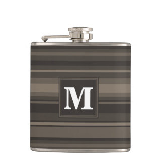Monogram taupe stripes hip flask