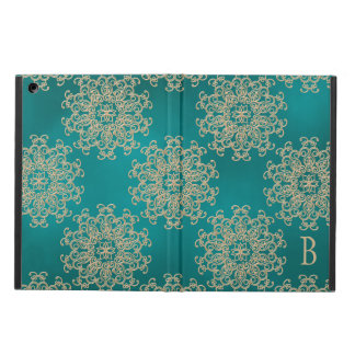 MONOGRAM TEAL AND GOLD INSIAN PATTERN iPad AIR CASE