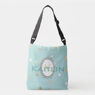 Monogram Teal and Gold Wedding Tote Bag