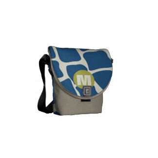 Monogram Teal and Lime Giraffe Pattern Courier Bags